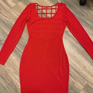 Caged Back Long Sleeve Red Bodycon Dress